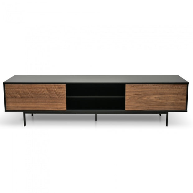 200cm TV Unit Black/Walnut