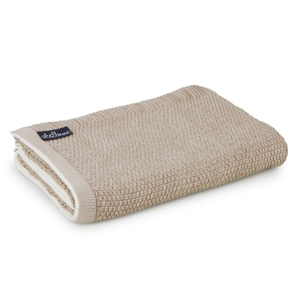 Cotton Knitted Throw - Latte