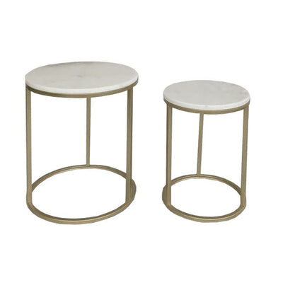 Benita Gold Marble Side Tables S/2