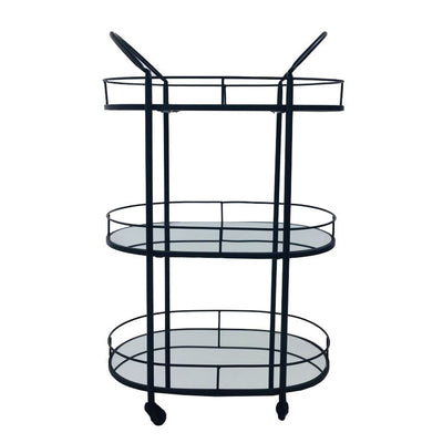 3 Tier Black Drinks Trolley
