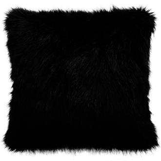 Black Fox Faux Fur Cushion