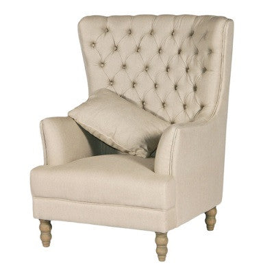 Beige Linen Wing Chair