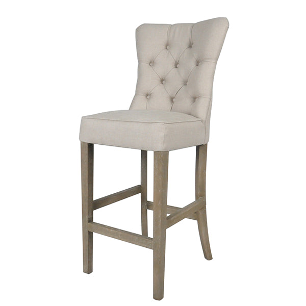 Buttoned Beige Linen Bar Stool