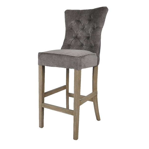 Buttoned Silver Grey Bar Stool