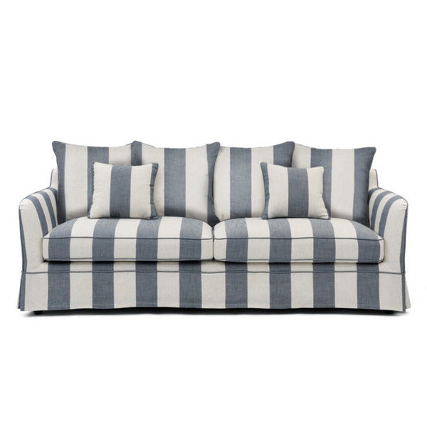 Hampton Stripe 3 Seat Sofa Denim