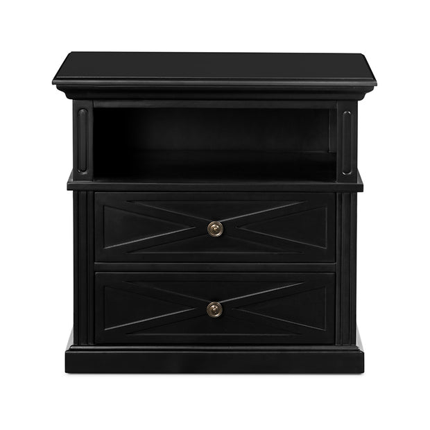 Lipari Bedside 2 Drawer Black