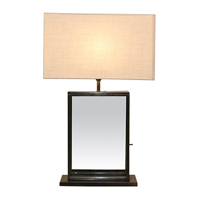 Black and Glass Rect Lamp