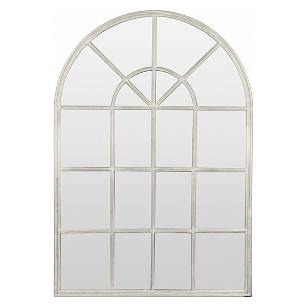 Arch Mirror with Panes Cream