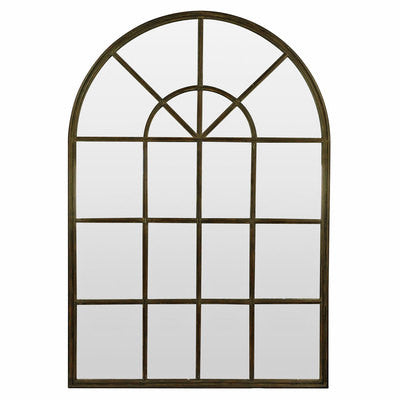 Arch Mirror with Panes Iron