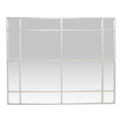 Iron 16 Pane Mirror Cream