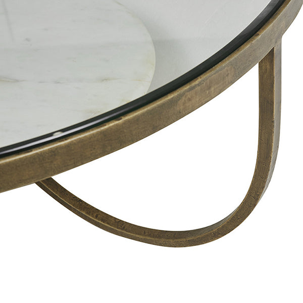 Amel Antique Brass/Marble Coffee Table