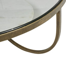 Amel Antique Brass/Marble Bedside Table