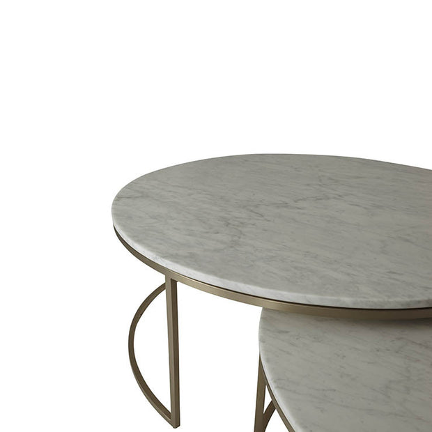 Elle Round Marble Nest Brushed Gold