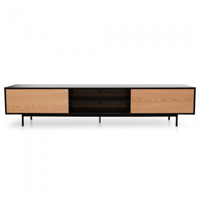 230cm TV Unit Black and Timber