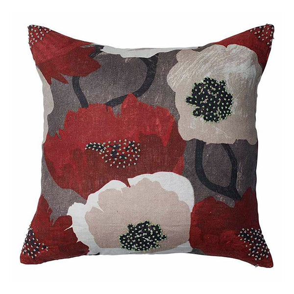 French Poppy Cushion