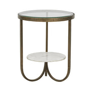 Amel Antique Brass/Marble Side Table