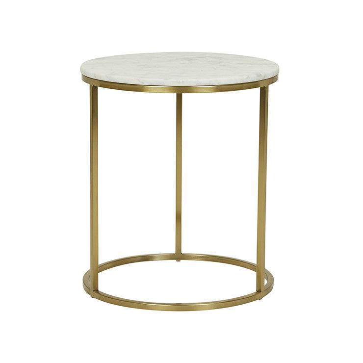 Elle Round Marble Side Table Gold