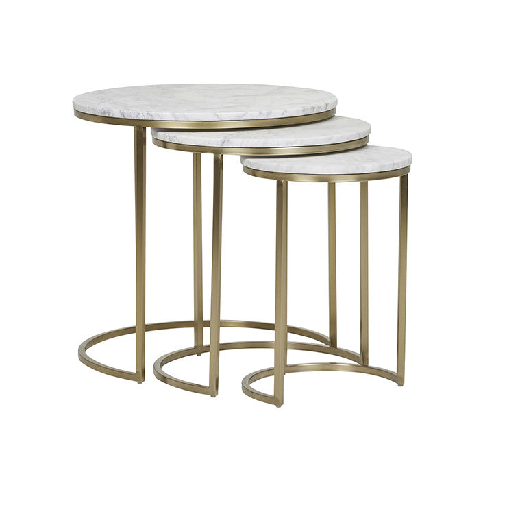 Elle Round Marble Nest of Tables Gold