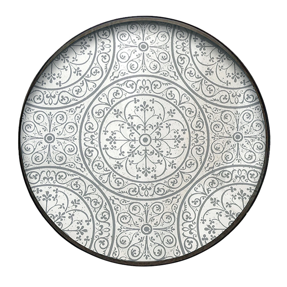 NM Round Moroccan Mirror Tray