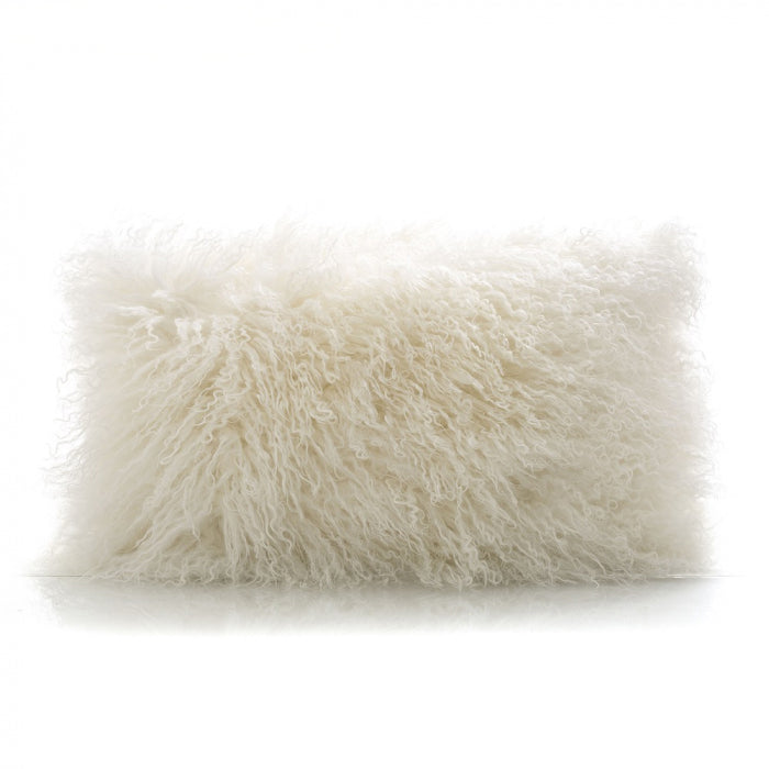 Tibetan Lamb White Fur Lumber Cushion