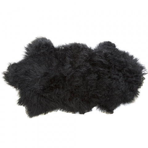 Tibetan Lamb Black Fur Throw
