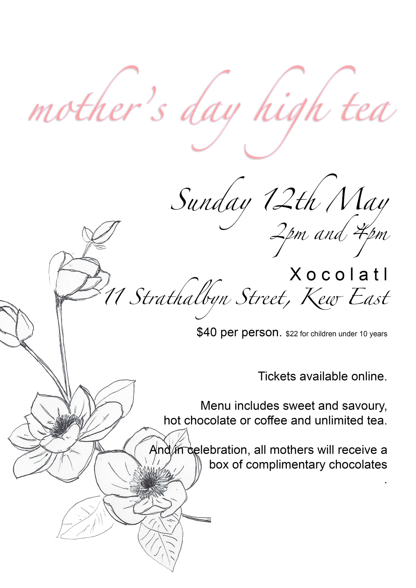 KIDS TICKET - Mother's Day High Tea