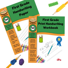1st Grade Print Handwriting Practice Kit with 1st Print Handwriting Workbook, 1st Blank Paper Workbook, 2 Training Pencil Grips and 2 Cushion Pencil Grips