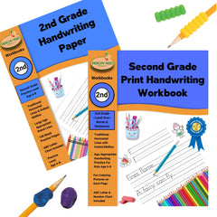 2nd Grade Print Handwriting Practice Kit with 2nd Grade Print Handwriting Workbook, 2nd Grade Blank Paper Workbook, 2 Training Pencil Grips and 2 Cushion Pencil Grips
