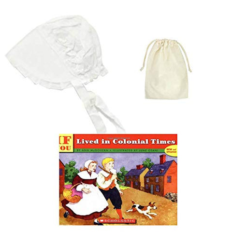 Colonial America Thanksgiving Pilgrim White Sun Bonnet with Purse & Book Kids Roleplay History Costume Set