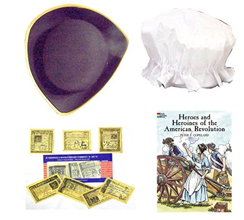 Revolutionary War Tricorn Hat, Mob Hat, Colonial Money & American Revolution Coloring Book Kids Roleplay History Costume Set