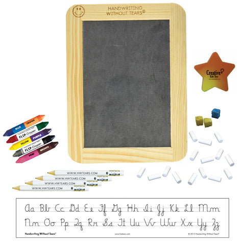 Handwriting without Tears Manuscript Beginner Kit with Slate, Chalk, Pencils, Flip Crayons, Sponge Cubes and Eraser HWOT Supplies Kit