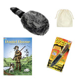 Daniel Boone Kentuckian Frontiersman Costume with Kids Coonskin Hat, Toy Knife, Drawstring Bag, and Coloring Book