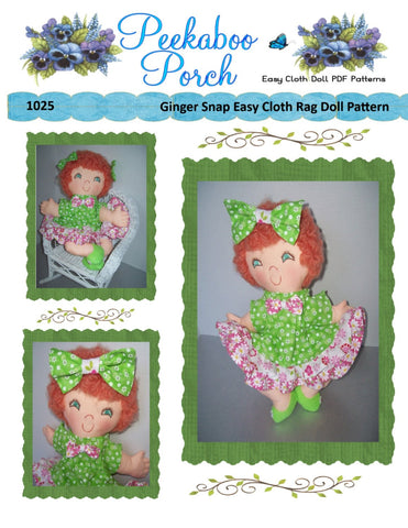 "Ginger Snap 15"" Easy Cloth Rag Doll Pattern - Beginner PDF Sewing Pattern"