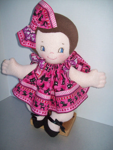 "Cutie Pie 15""  Easy Pancake Cloth Rag Doll Pattern- Beginner PDF Sewing Pattern"