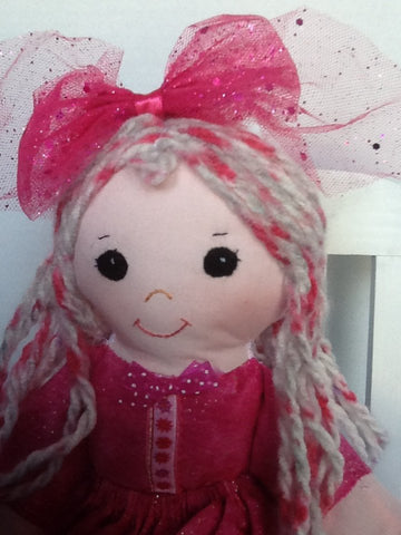 "Fuchsia 14"" Easy Cloth Rag Doll Pattern - Beginner PDF Sewing Pattern"
