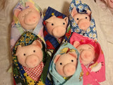 "Piggy in a Blanket 8"" Easy Cloth Swaddle Baby Animal Rag Doll Pattern - Beginner PDF Sewing Pattern"