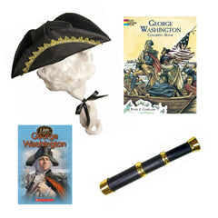 George Washington Revolutionary War Fun History Kit for Kids Pretend Play Costume Roleplay Set