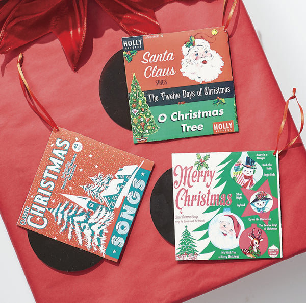 Retro Christmas Record Ornament (set of 3)