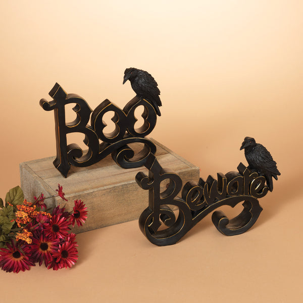 Boo with Crow Figurine Block Sign