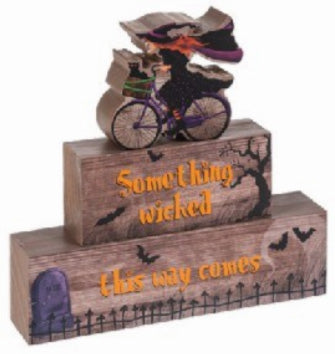Witch on Bicycle Stacking Block Sign