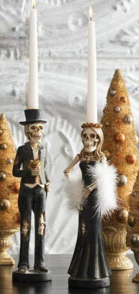 Skeleton Couple Candlesticks (pair)