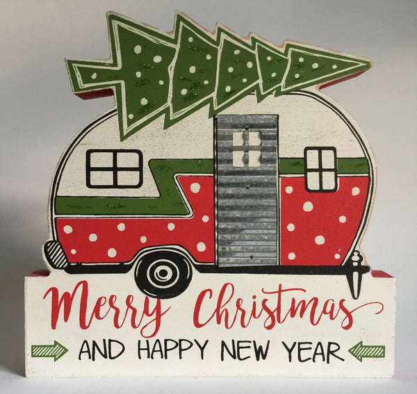 Christmas Camper Block Sign