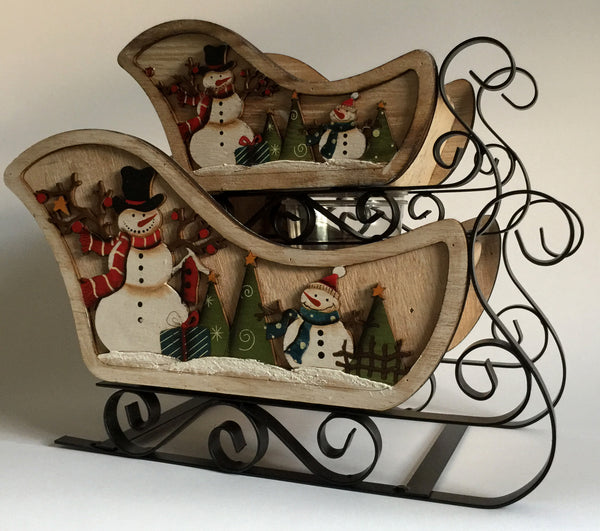 Snowman Wood Sleigh (Pair)