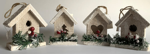 Birdhouse Ornament (set of 4)