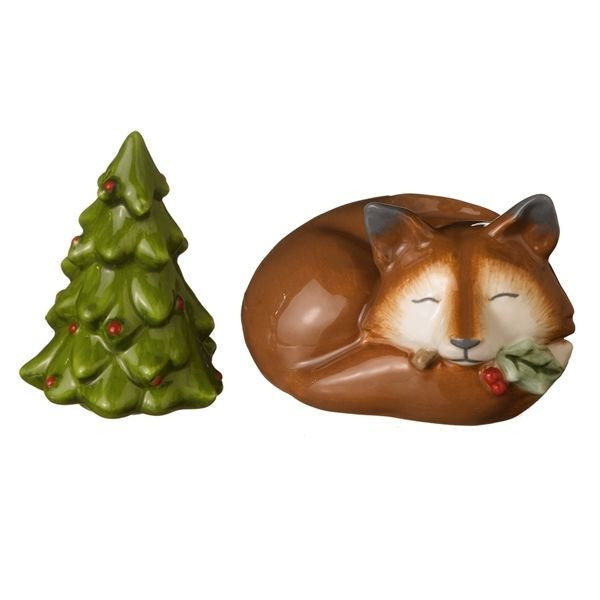 Fox and Tree Stackable Salt and Pepper