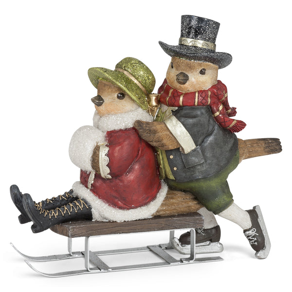 Bird Couple on Sled
