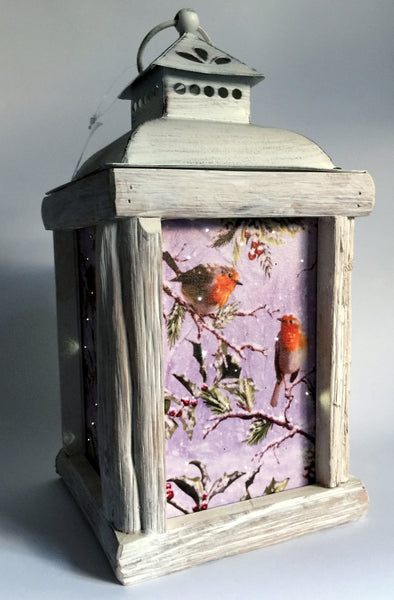 Winter Birds Fiber Optic Lantern