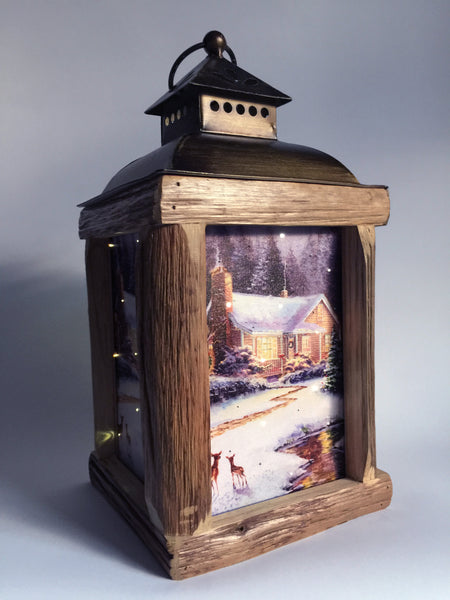 Winter Cabin Fiber Optic Lantern