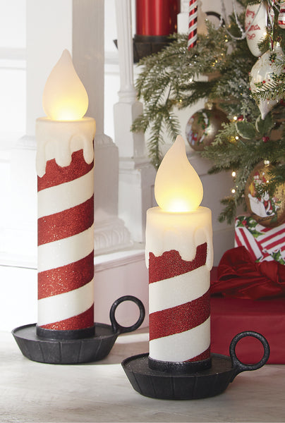 "Retro Candy Cane Stripe Glitter LED Candle (22.5"")"