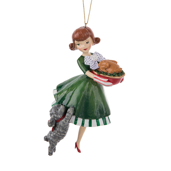 Retro Brunette with Turkey and Dog Ornament